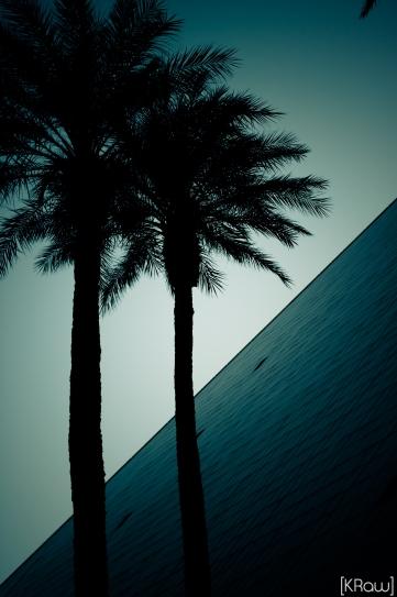 Mélange architectural entre un palmier et une pyramide à Las Vegas aux USA