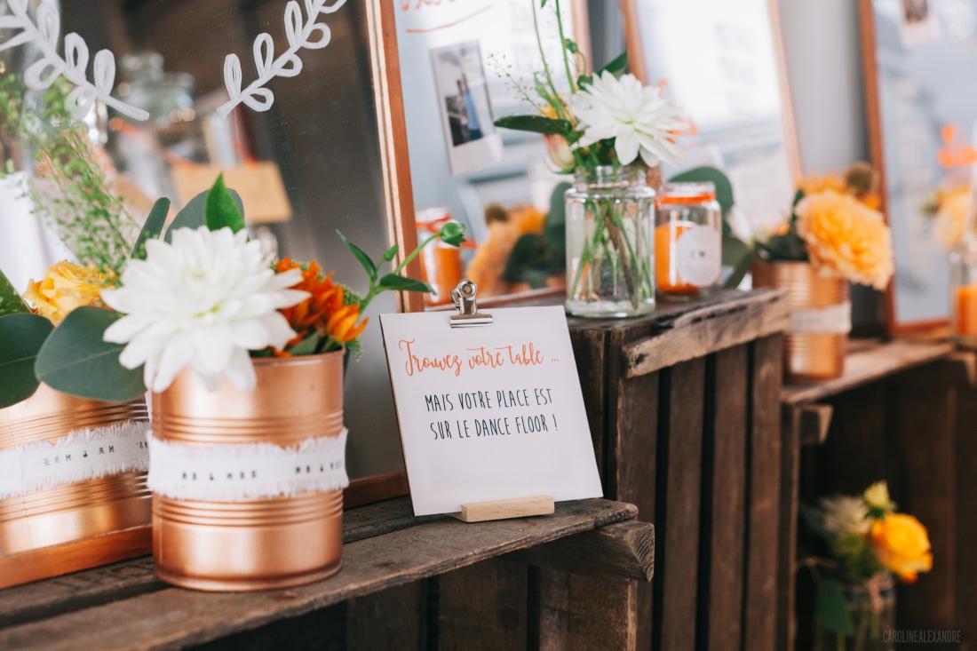 Caisses en bois de décoration pour un mariage au thème industriel